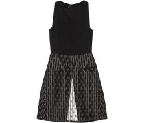 Borra Crepe And Jacquard Mini Dress Schwarz