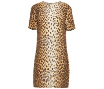 Leopard-print Woven Mini Dress