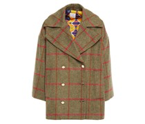 Double-breasted Checked Felt Coat