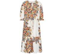 Ruffle-trimmed Printed Silk Midi Dress