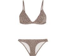 Pavilion Metallic Leopard Cloqué Triangle Bikini Grau