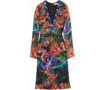 Embellished Floral-print Silk-chiffon Dress Mehrfarbig