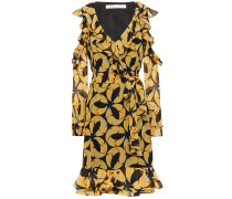Cold-shoulder Ruffled Printed Georgette Dress