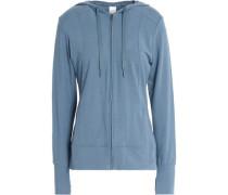 Printed cotton-blend jersey hooded sweatshirt
