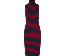 Ray Ruched Striped Stretch-jersey Turtleneck Dress Rot