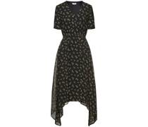Asymmetric Floral-print Chiffon Midi Dress