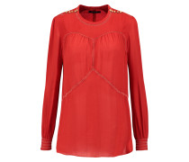 Beaded Silk Crepe De Chine Blouse Tomatenrot