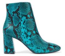 Dobrey Snake-effect Leather Ankle Boots Teal
