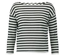 Striped Cotton-blend Jersey Top Schwarz