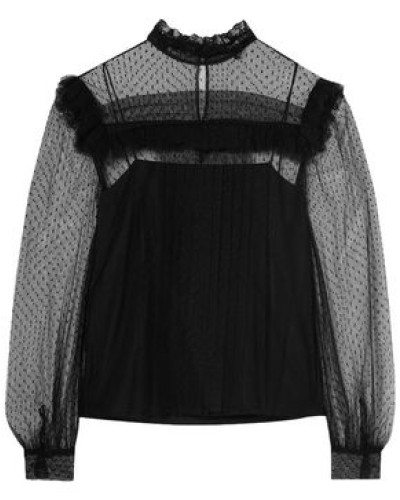 Woman Ruffle-trimmed Point D'esprit Blouse Black