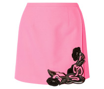 Leather-embellished Wool-crepe Mini Skirt Pink