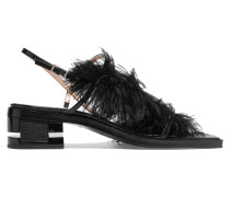 Feather-trimmed Leather Sandals Schwarz