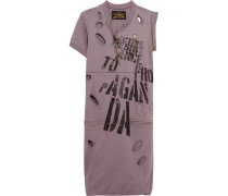 Zip-detailed Distressed Printed Cotton-jersey Mini Dress Brombeere