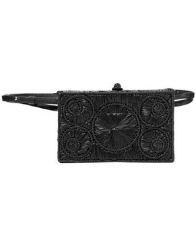 Mia Leather-trimmed Raffia Belt Bag Black Size --