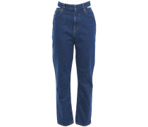Woman Touro Cutout High-rise Straight-leg Jeans Mid Denim