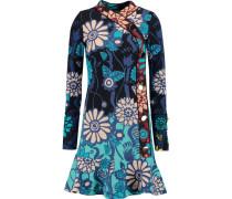 Alessandra Printed Silk-blend Bouclé Dress Türkis