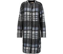 Checked Mohair-blend Coat Schwarz