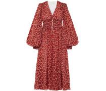 Shirred Jersey-paneled Gathered Printed Silk-chiffon Midi Dress