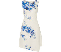 Printed Stretch-cotton Dress Blau