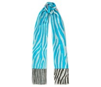 Frayed Zebra-print Cashmere And Silk-blend Scarf