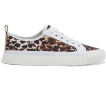 Parise Sneakers aus Canvas mit Leopardenprint und Lederbesatz