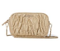 Metallic Matelassé Leather Shoulder Bag Gold