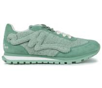 Sneakers aus Veloursleder und Frottee mit Applikationen