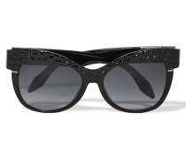D-frame Paneled Matte-acetate Sunglasses Schwarz