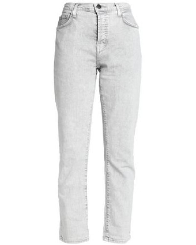 Cropped Bleached High-rise Slim-leg Jeans Light Gray  3