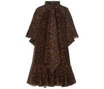 Elviretta Kleid aus Chiffon mit Fil Coupé und Leopardenprint