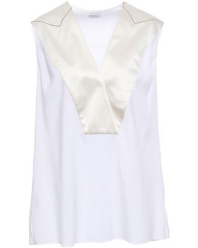 Wrap-effect Satin-trimmed Stretch-silk Blouse White