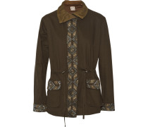 Beaded Cotton-twill Jacket Armeegrün
