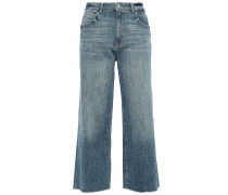 Woman Palmer Cropped Distressed High-rise Wide-leg Jeans Mid Denim