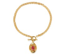 24-karat -plated, Stone, Faux Pearl And Crystal Locket Necklace
