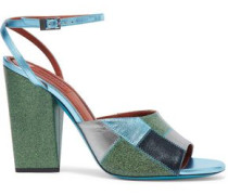 Metallic and glittered leather sandals