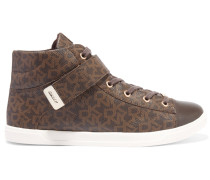 Betty Leather-paneled Printed Coated Canvas High-top Sneakers Braun