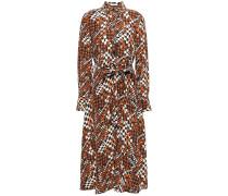 Houndstooth Silk-satin Midi Shirt Dress