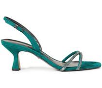 Sandalen aus Veloursleder mit Kristallverzierung