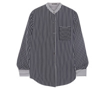 Ziria Striped Silk-chiffon Shirt Navy