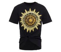 Ring-embellished Printed Cotton-jersey T-shirt