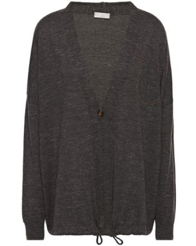 Woman Bead-embellished Mélange Cashmere, Silk And Hemp-blend Cardigan Anthracite