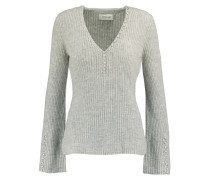 Button-detailed Ribbed Cashmere Sweater Grau