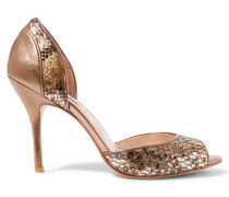 Zinnia Metallic Snake-effect And Textured-leather Sandals Bronze