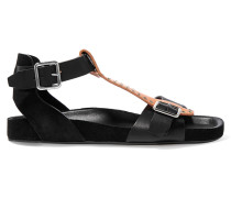 Layne Embellished Leather And Suede Sandals Schwarz