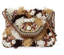 Bead-embellished Embroidered Cotton-canvas Shoulder Bag Camel