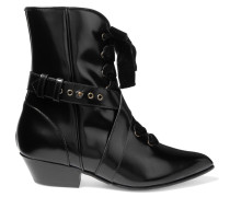 Lace-up Velvet-trimmed Glossed-leather Ankle Boots Schwarz