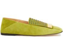 Sr1 Verzierte Loafers aus Veloursleder mit Einklappbarer Fersenpartie