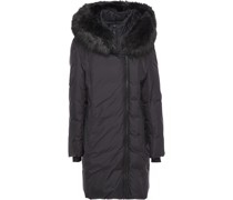 Faux Fur-trimmed Quilted Shell Hooded Coat