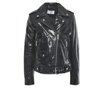 Polly Cracked Patent-leather Biker Jacket