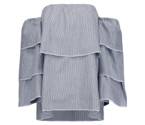 Steph Off-the-shoulder Layered Striped Cotton Top Dunkelgrau